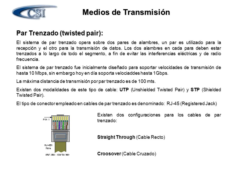 Medios de Transmisión Par Trenzado (twisted pair):