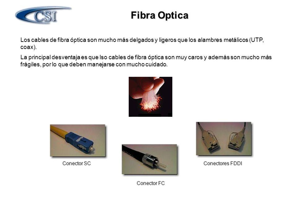 Fibra Optica Los cables de fibra óptica son mucho más delgados y ligeros que los alambres metálicos (UTP, coax).