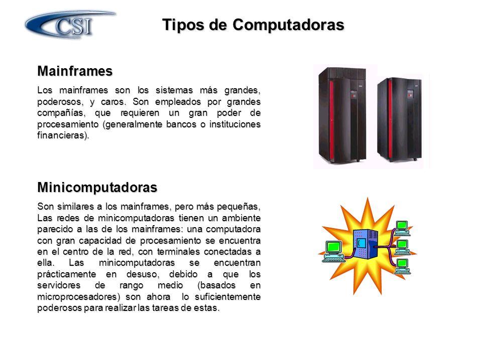 Tipos de Computadoras Mainframes Minicomputadoras