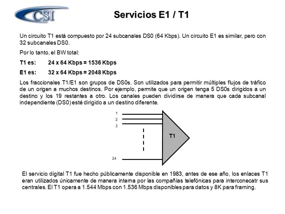 Servicios E1 / T1 Un circuito T1 está compuesto por 24 subcanales DS0 (64 Kbps). Un circuito E1 es similar, pero con 32 subcanales DS0.