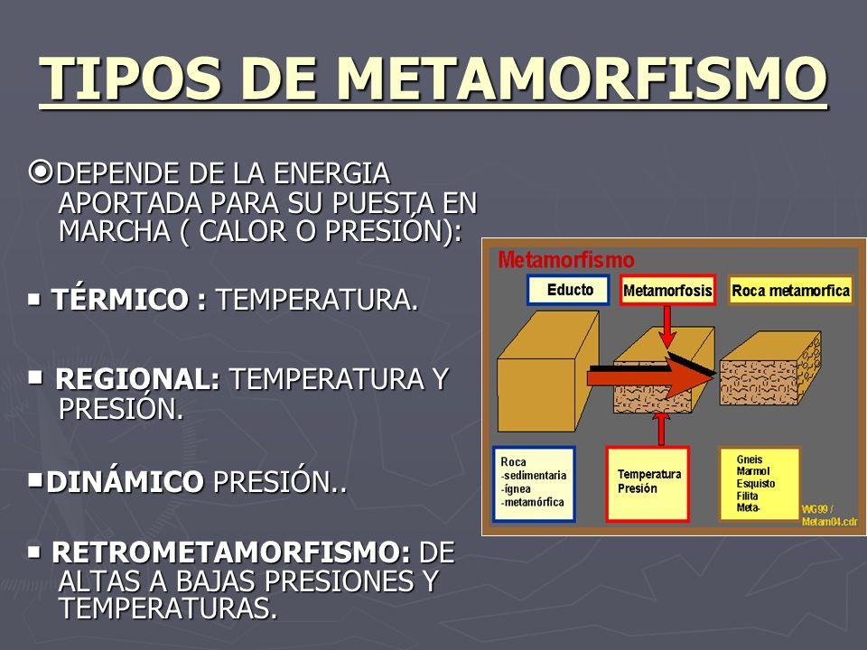 TIPOS DE METAMORFISMODEPENDE DE LA ENERGIA APORTADA PARA SU PUESTA EN MARCHA ( CALOR O PRESIÓN):  TÉRMICO : TEMPERATURA.