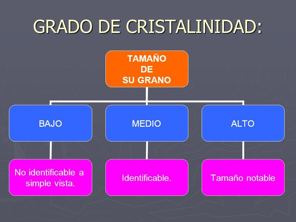 GRADO DE CRISTALINIDAD: