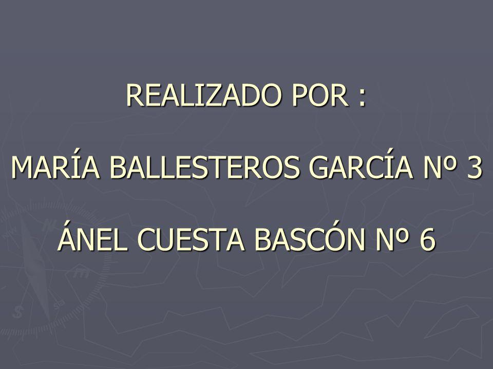 REALIZADO POR : MARÍA BALLESTEROS GARCÍA Nº 3 ÁNEL CUESTA BASCÓN Nº 6