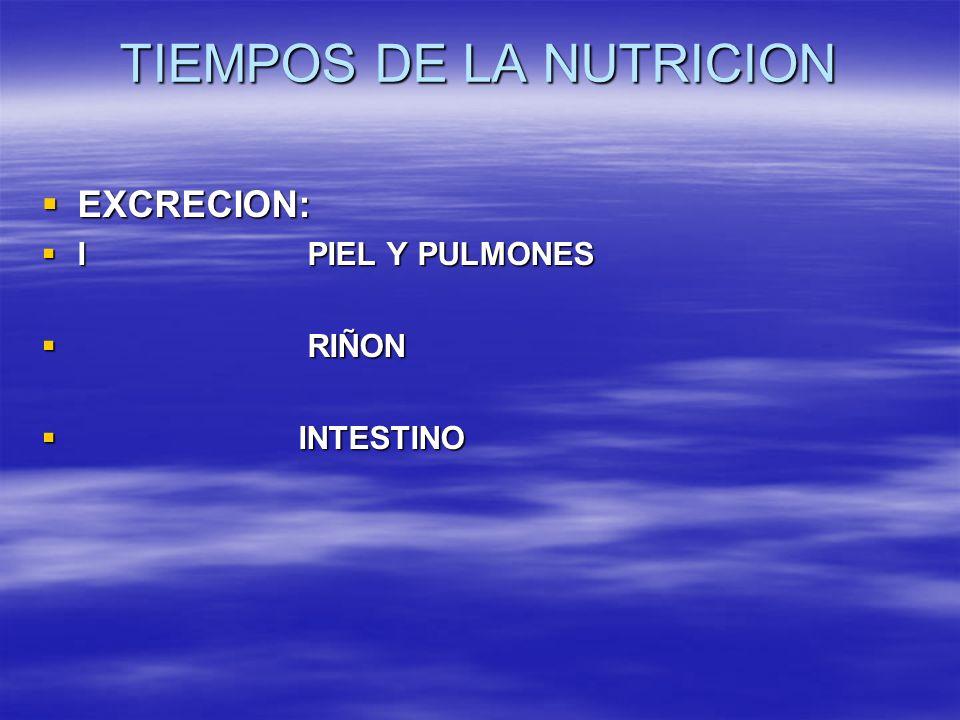 TIEMPOS DE LA NUTRICION