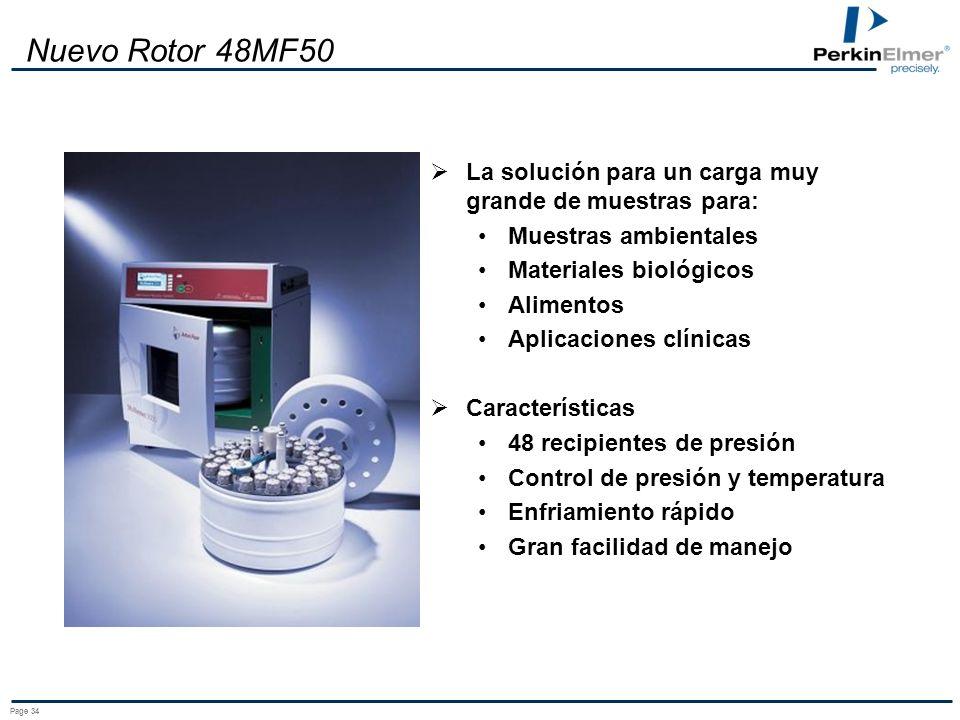 Nuevo Rotor 48MF50 La solución para un carga muy grande de muestras para: Muestras ambientales. Materiales biológicos.