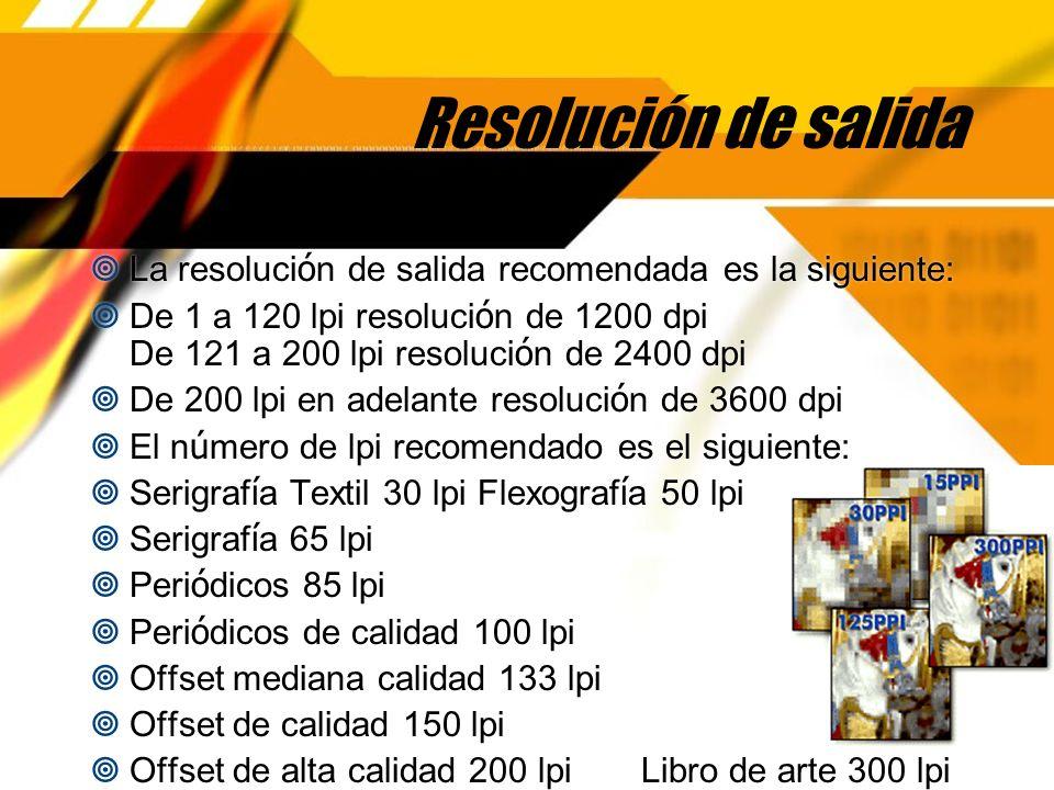 Resolución de salida La resolución de salida recomendada es la siguiente: