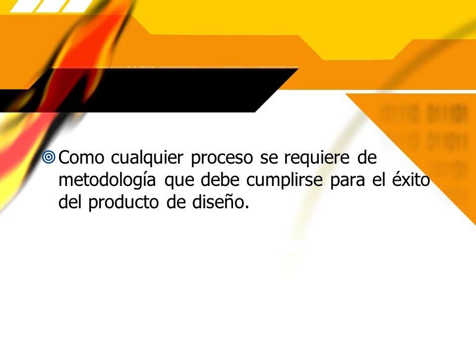 Como cualquier proceso se requiere de metodología que debe cumplirse para el éxito del producto de diseño.
