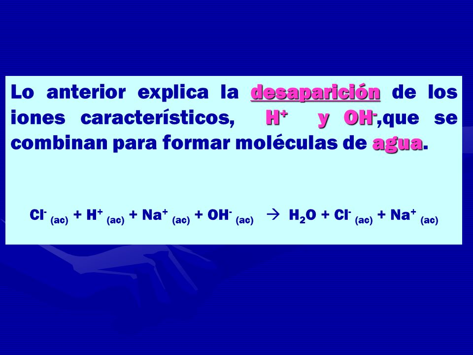 Cl- (ac) + H+ (ac) + Na+ (ac) + OH- (ac)  H2O + Cl- (ac) + Na+ (ac)