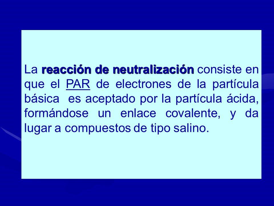 La reacción de neutralización consiste en que el PAR de electrones de la partícula básica es aceptado por la partícula ácida, formándose un enlace covalente, y da lugar a compuestos de tipo salino.