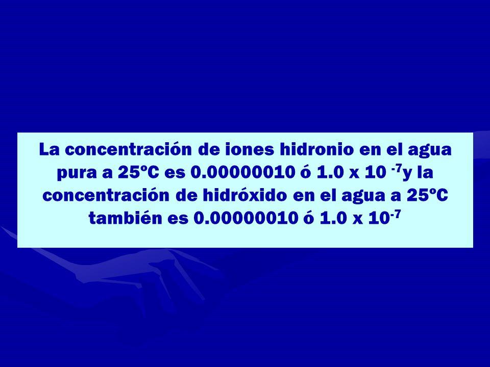 La concentración de iones hidronio en el agua pura a 25ºC es 0