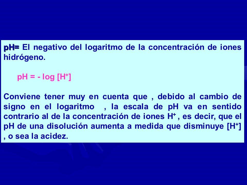 pH= El negativo del logaritmo de la concentración de iones hidrógeno.