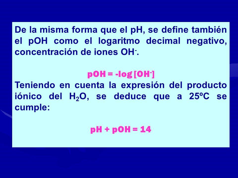 De la misma forma que el pH, se define también el pOH como el logaritmo decimal negativo, concentración de iones OH-.