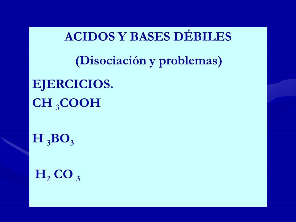 (Disociación y problemas) EJERCICIOS. CH 3COOH H 3BO3