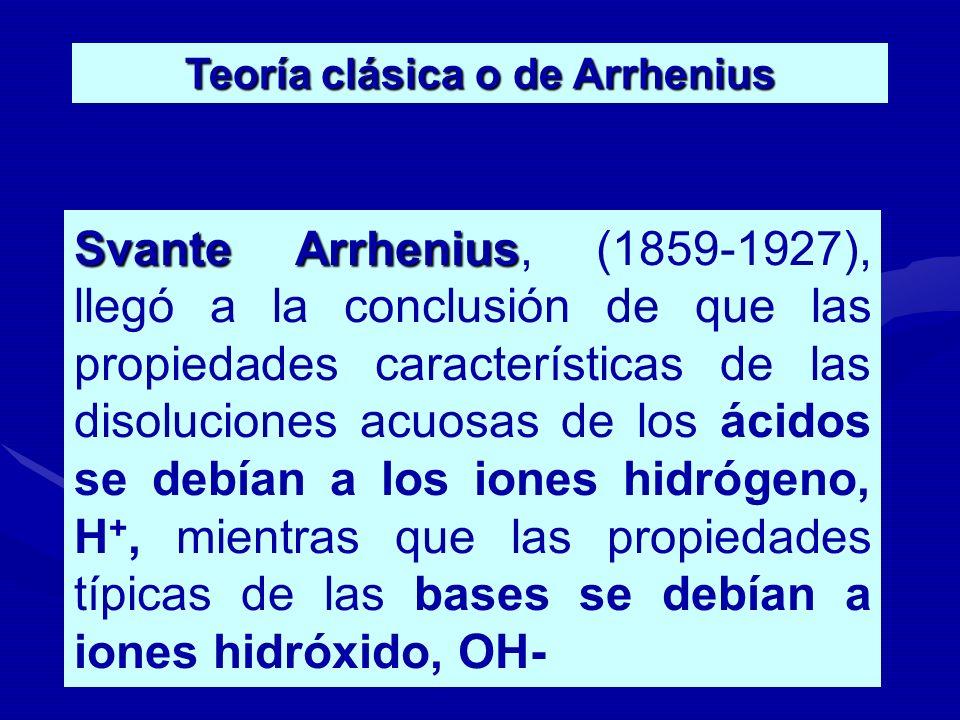 Teoría clásica o de Arrhenius