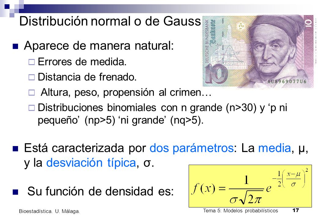 Distribución normal o de Gauss