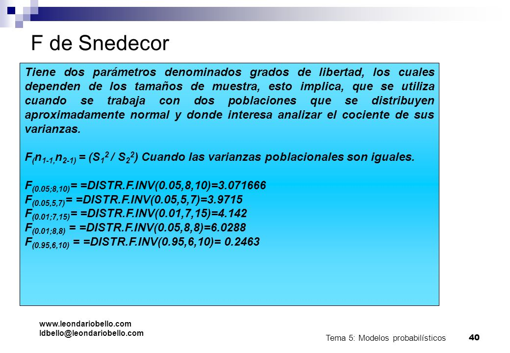 F de Snedecor