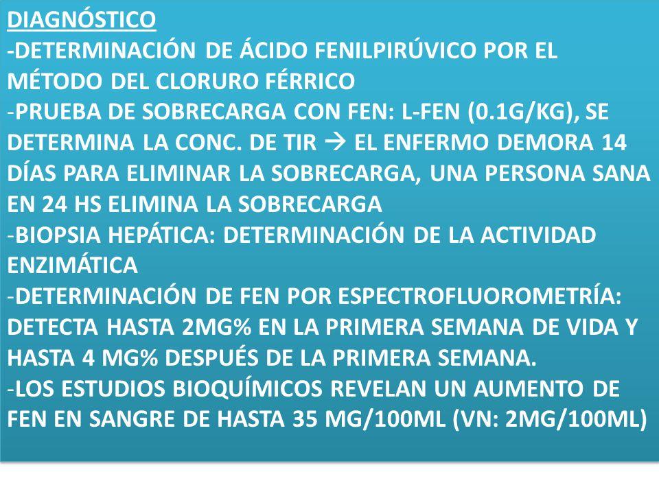 DIAGNÓSTICO-DETERMINACIÓN DE ÁCIDO FENILPIRÚVICO POR EL MÉTODO DEL CLORURO FÉRRICO.