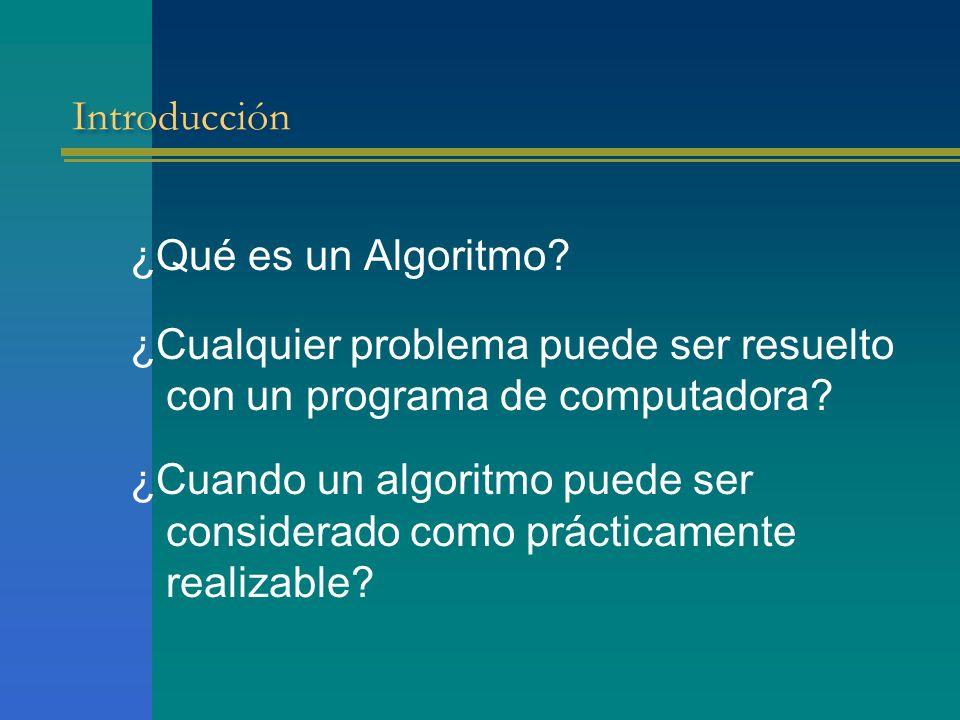 Introducción ¿Qué es un Algoritmo ¿Cualquier problema puede ser resuelto con un programa de computadora