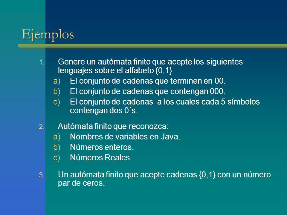 Ejemplos Genere un autómata finito que acepte los siguientes lenguajes sobre el alfabeto {0,1} El conjunto de cadenas que terminen en 00.