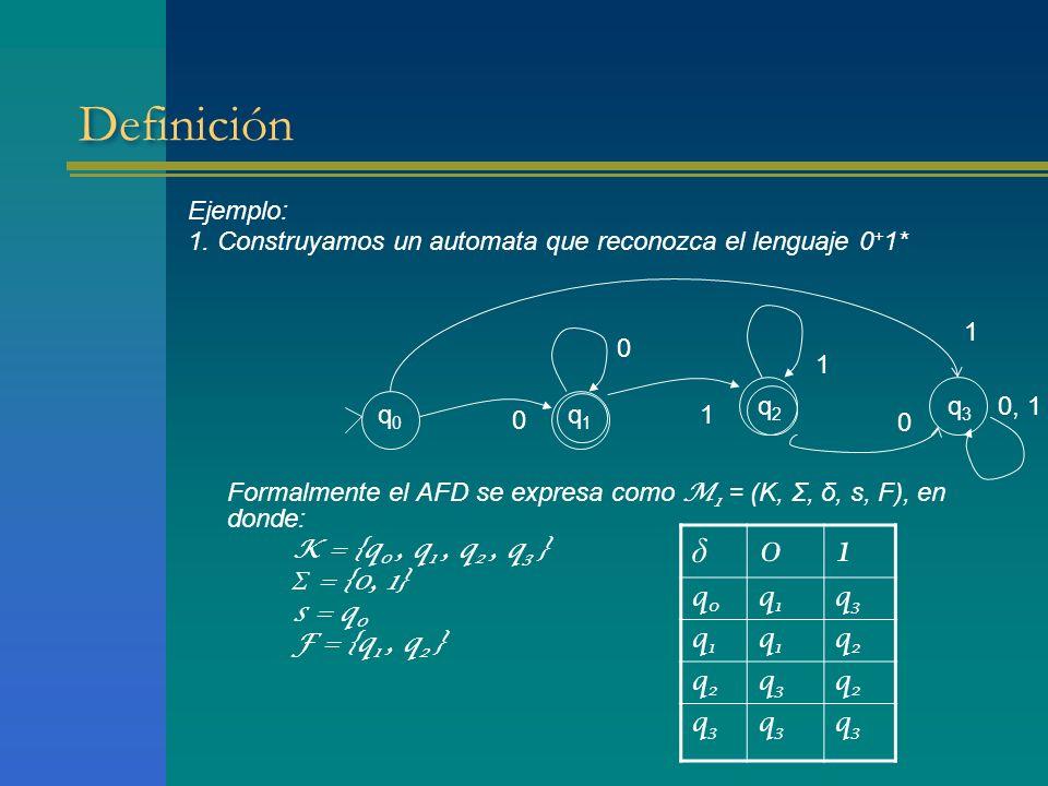 Definición Ejemplo: 1. Construyamos un automata que reconozca el lenguaje 0+1* Formalmente el AFD se expresa como M1 = (K, Σ, δ, s, F), en donde:
