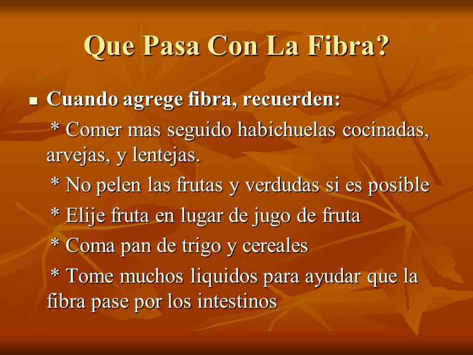 Que Pasa Con La Fibra Cuando agrege fibra, recuerden: