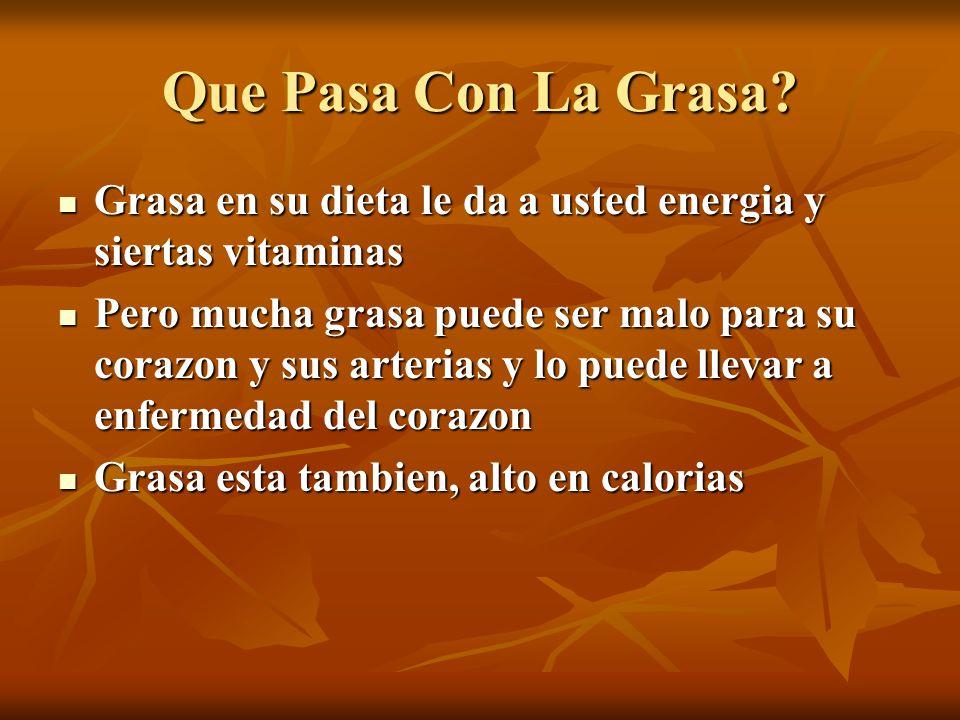 Que Pasa Con La Grasa Grasa en su dieta le da a usted energia y siertas vitaminas.
