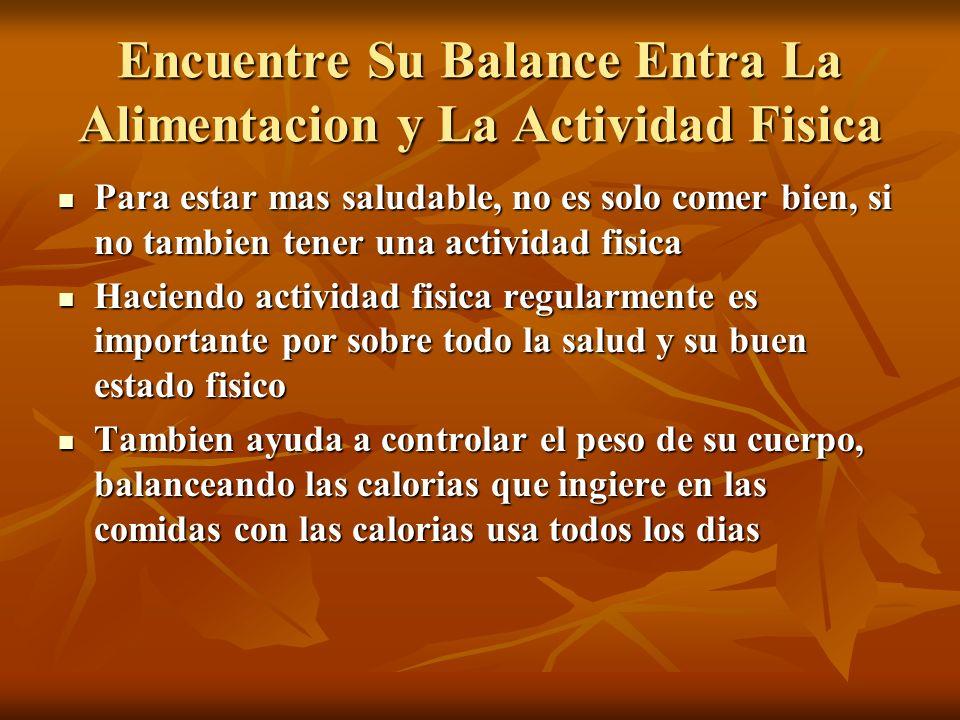 Encuentre Su Balance Entra La Alimentacion y La Actividad Fisica
