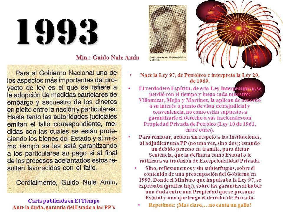 1993 Min.: Guido Nule Amín. Nace la Ley 97, de Petróleos e interpreta la Ley 20, de 1969.
