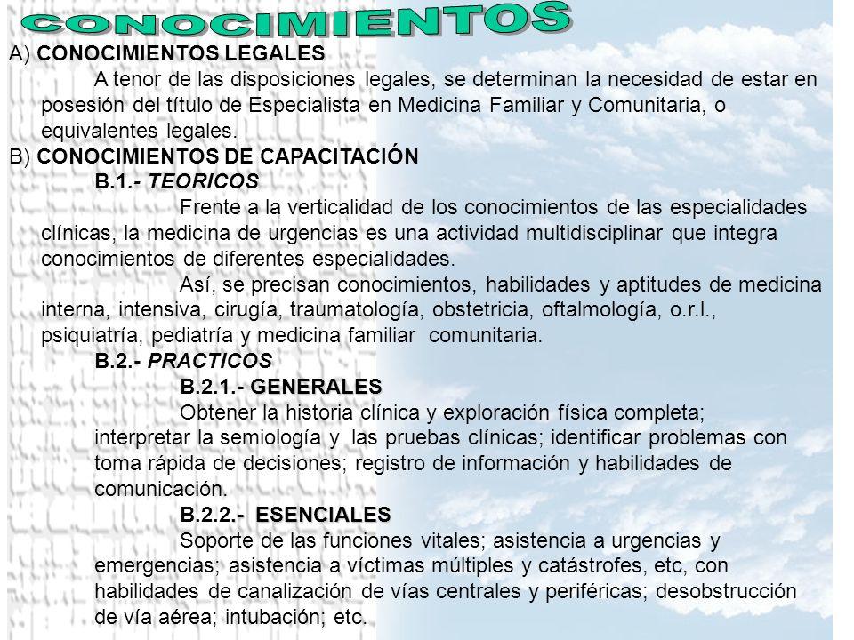CONOCIMIENTOS A) CONOCIMIENTOS LEGALES