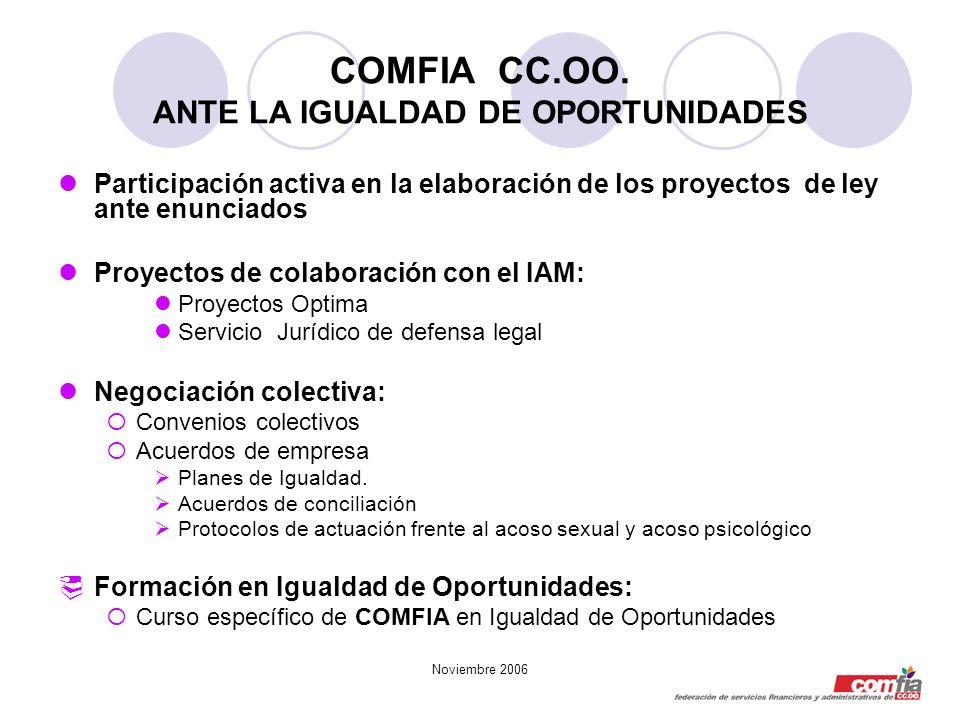 COMFIA CC.OO. ANTE LA IGUALDAD DE OPORTUNIDADES