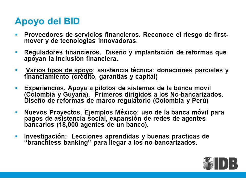 Apoyo del BID Proveedores de servicios financieros. Reconoce el riesgo de first- mover y de tecnologías innovadoras.