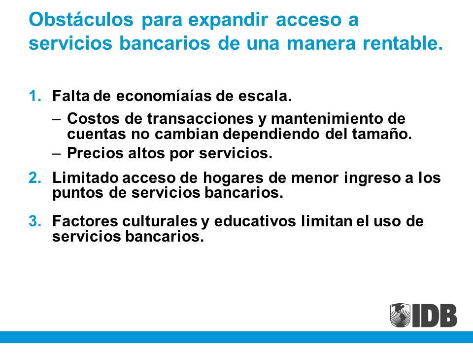 Obstáculos para expandir acceso a servicios bancarios de una manera rentable.