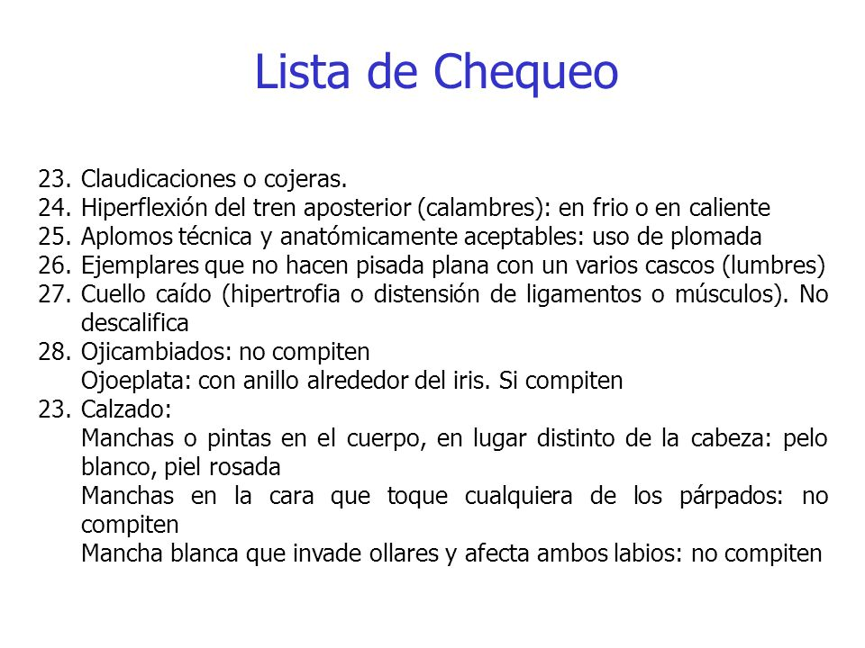 Lista de Chequeo Claudicaciones o cojeras.
