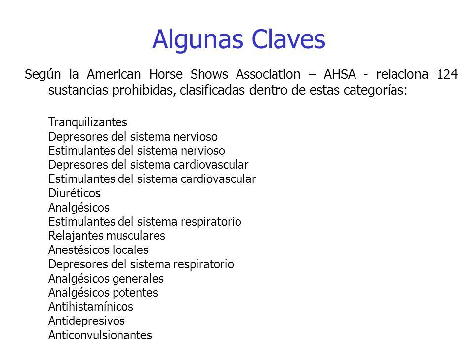 Algunas Claves Según la American Horse Shows Association – AHSA - relaciona 124 sustancias prohibidas, clasificadas dentro de estas categorías: