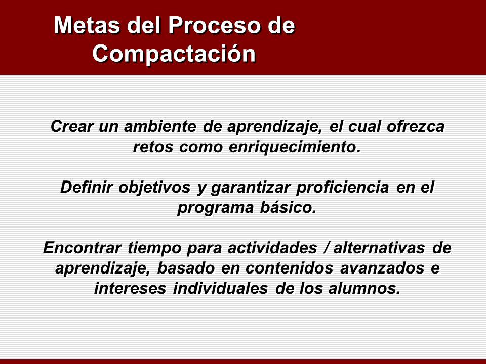 Metas del Proceso de Compactación