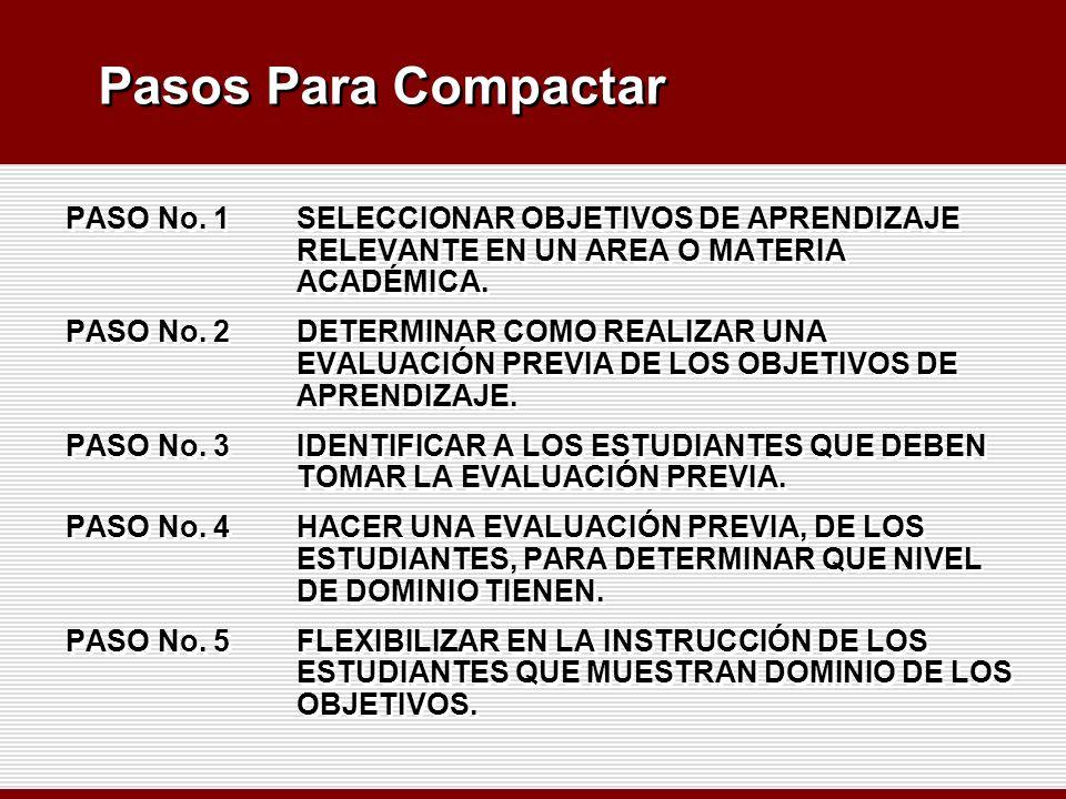 Pasos Para Compactar PASO No. 1 SELECCIONAR OBJETIVOS DE APRENDIZAJE RELEVANTE EN UN AREA O MATERIA ACADÉMICA.
