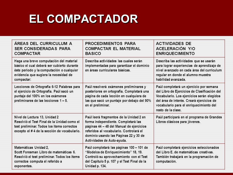 EL COMPACTADOR ÁREAS DEL CURRICULUM A SER CONSIDERADAS PARA COMPACTAR