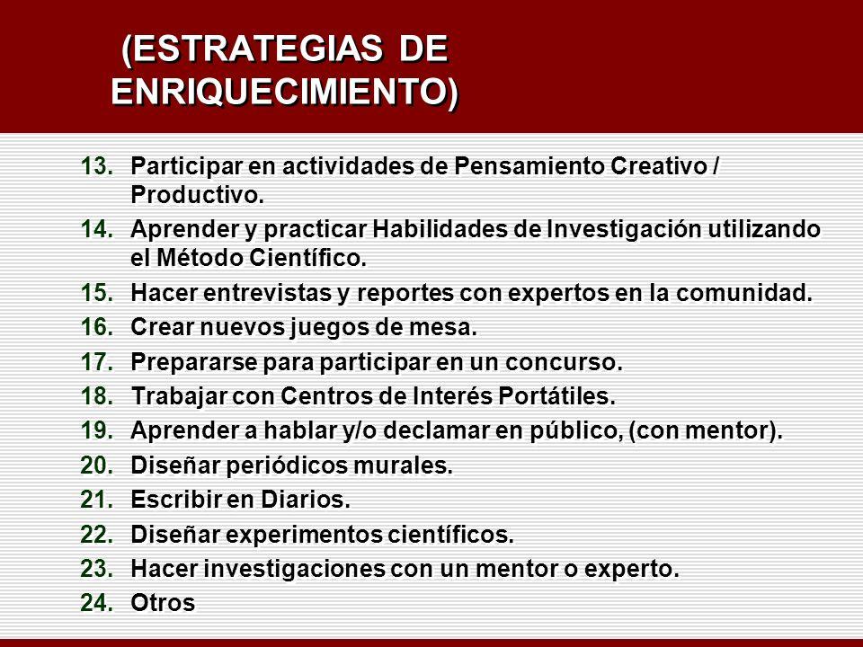 (ESTRATEGIAS DE ENRIQUECIMIENTO)