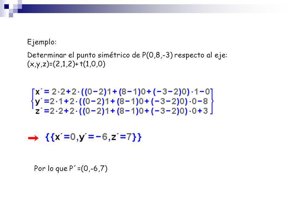 Ejemplo:Determinar el punto simétrico de P(0,8,-3) respecto al eje: (x,y,z)=(2,1,2)+ t(1,0,0) Por lo que P´=(0,-6,7)