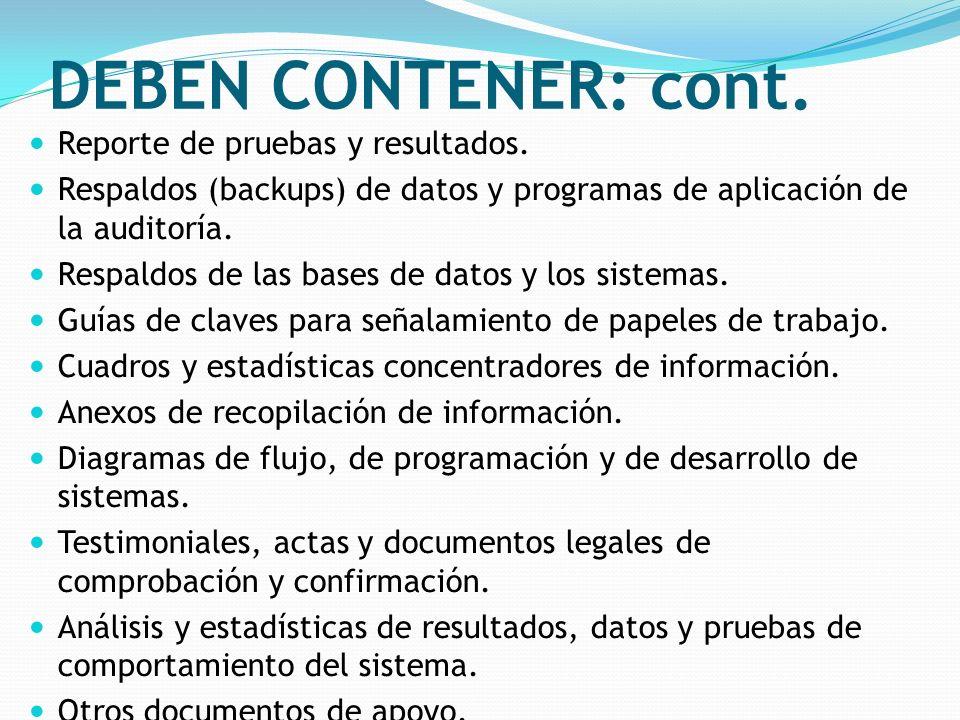 DEBEN CONTENER: cont. Reporte de pruebas y resultados.
