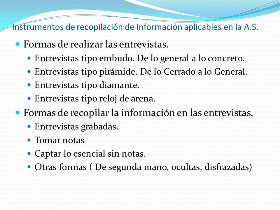 Instrumentos de recopilación de Información aplicables en la A.S.