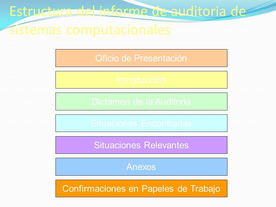 Estructura del informe de auditoria de sistemas computacionales