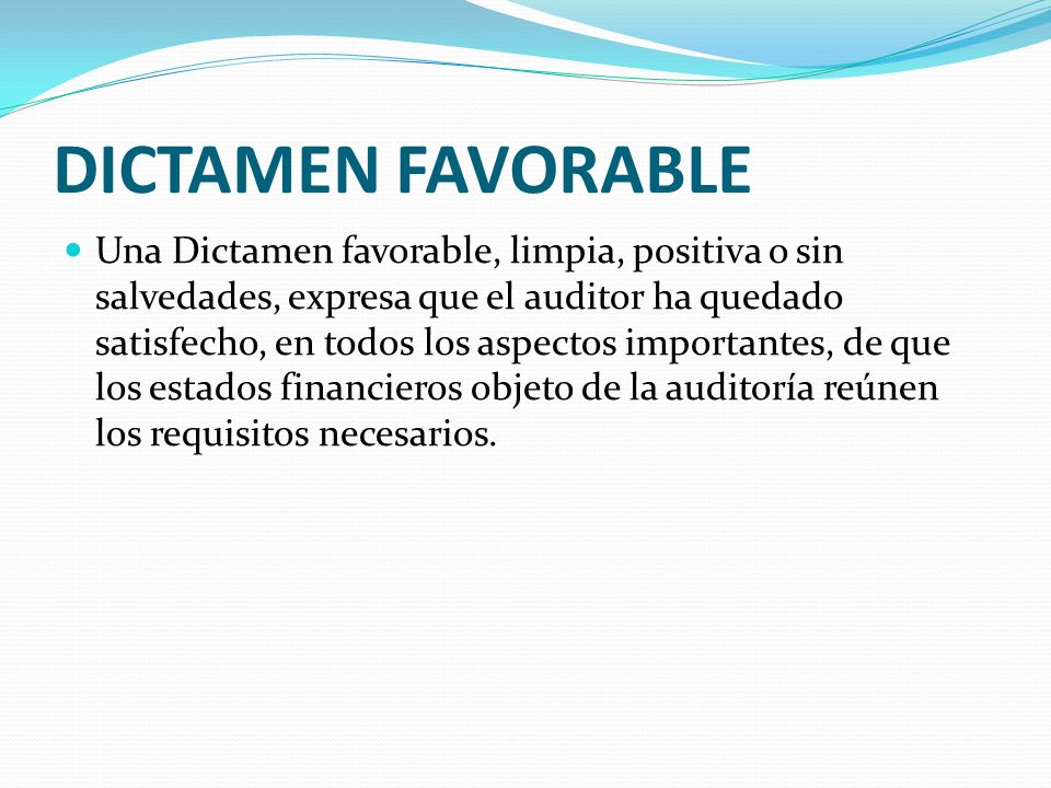 DICTAMEN FAVORABLE
