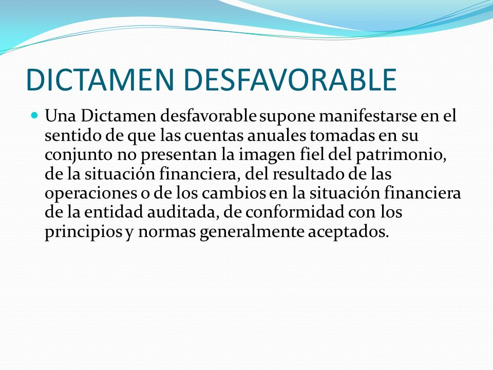 DICTAMEN DESFAVORABLE