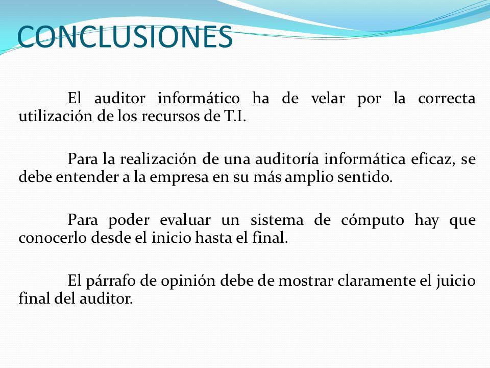 CONCLUSIONES El auditor informático ha de velar por la correcta utilización de los recursos de T.I.