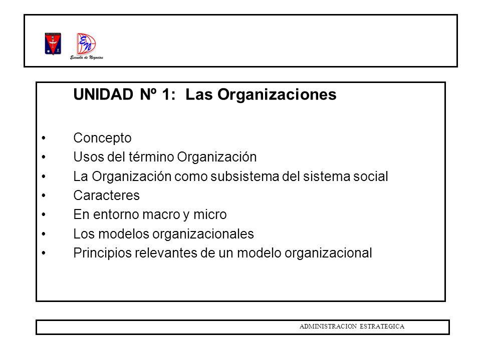 UNIDAD Nº 1: Las Organizaciones