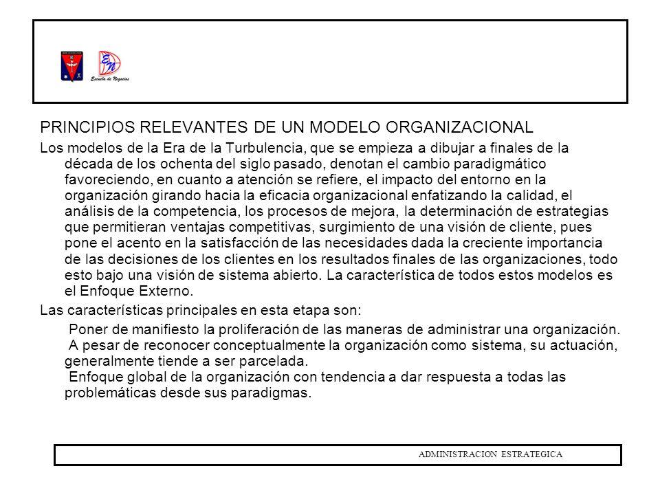 PRINCIPIOS RELEVANTES DE UN MODELO ORGANIZACIONAL