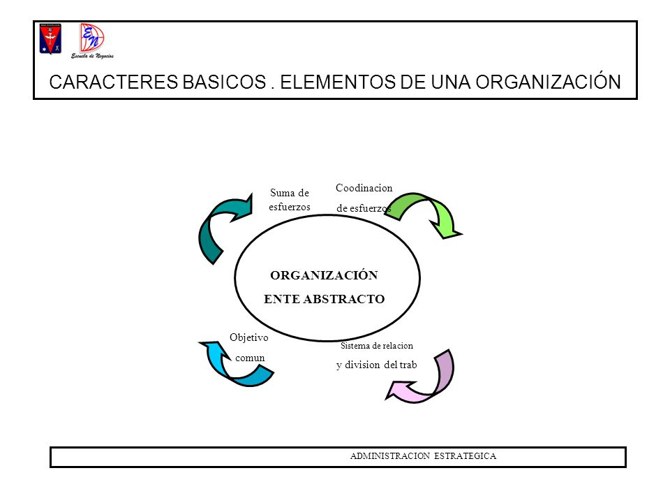 CARACTERES BASICOS . ELEMENTOS DE UNA ORGANIZACIÓN