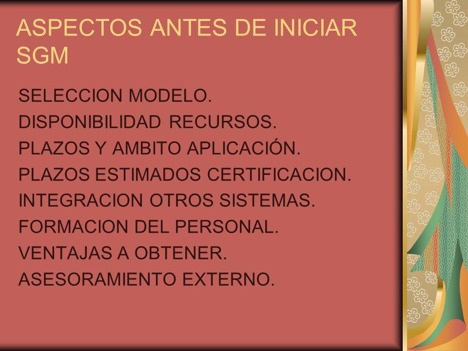 ASPECTOS ANTES DE INICIAR SGM
