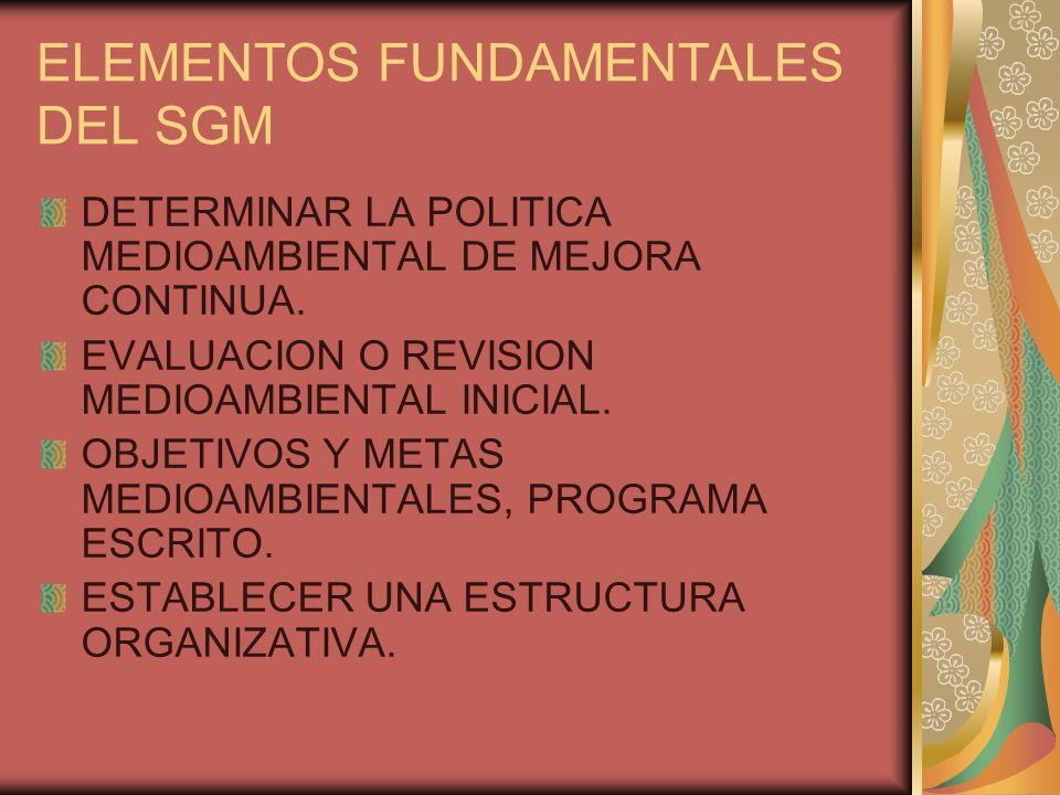ELEMENTOS FUNDAMENTALES DEL SGM